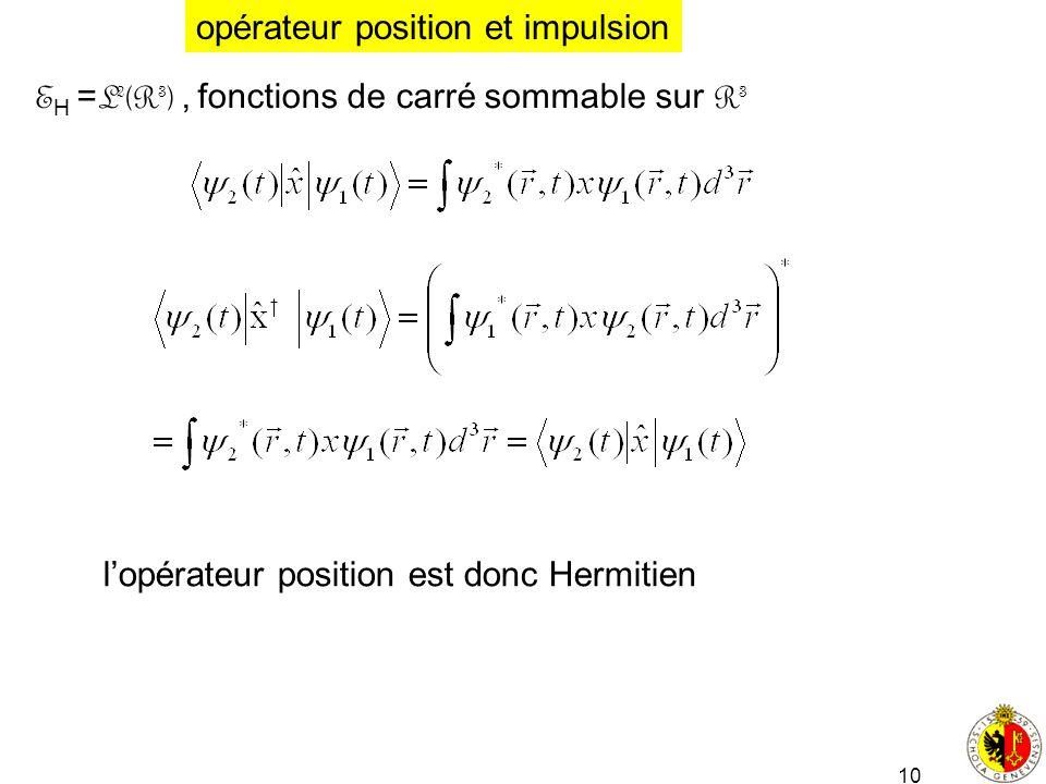 10 E H = L 2 (R 3 ), fonctions de carré sommable sur R 3 opérateur position et impulsion lopérateur position est donc Hermitien