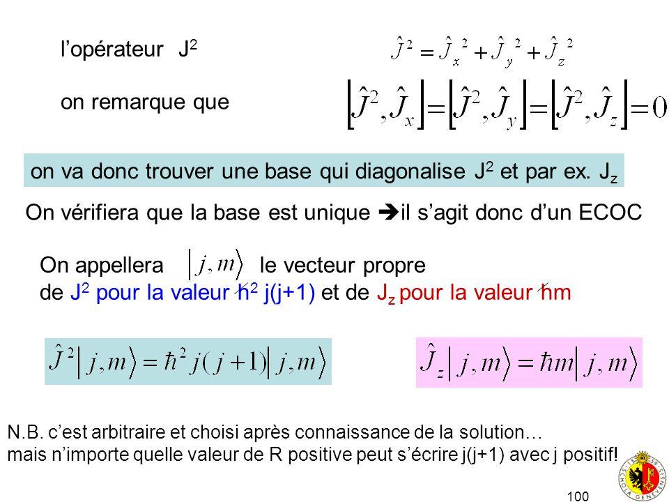 100 lopérateur J 2 on remarque que on va donc trouver une base qui diagonalise J 2 et par ex. J z On vérifiera que la base est unique il sagit donc du