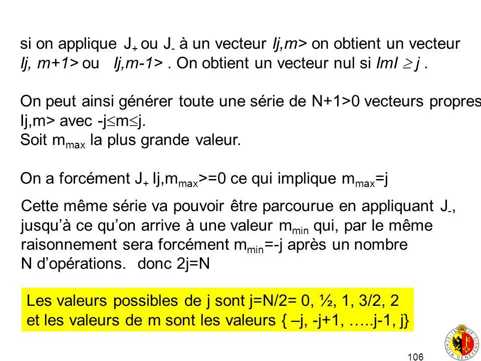 106 si on applique J + ou J - à un vecteur Ij,m> on obtient un vecteur Ij, m+1> ou Ij,m-1>. On obtient un vecteur nul si ImI j. On peut ainsi générer
