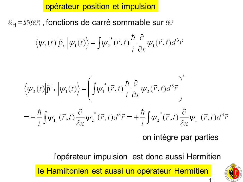11 E H = L 2 (R 3 ), fonctions de carré sommable sur R 3 opérateur position et impulsion lopérateur impulsion est donc aussi Hermitien on intègre par