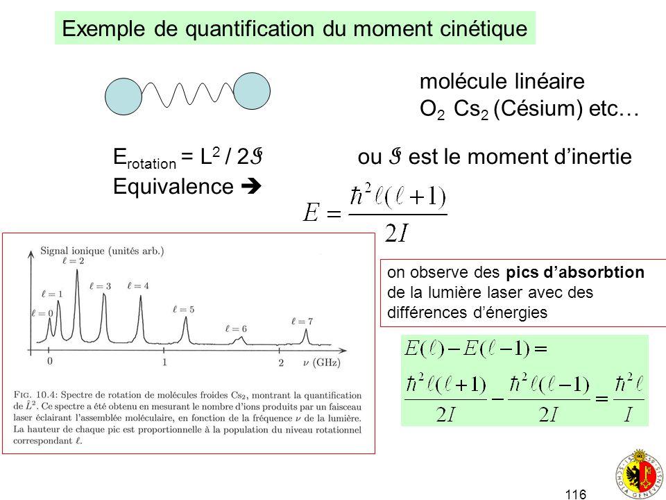 116 Exemple de quantification du moment cinétique molécule linéaire O 2 Cs 2 (Césium) etc… E rotation = L 2 / 2 I ou I est le moment dinertie Equivale