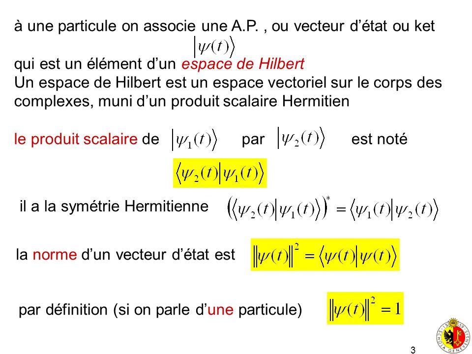 3 à une particule on associe une A.P., ou vecteur détat ou ket qui est un élément dun espace de Hilbert Un espace de Hilbert est un espace vectoriel s