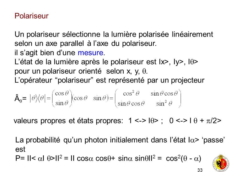 33 Polariseur Un polariseur sélectionne la lumière polarisée linéairement selon un axe parallel à laxe du polariseur. il sagit bien dune mesure. Létat