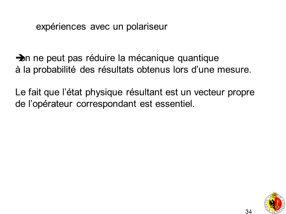 34 expériences avec un polariseur on ne peut pas réduire la mécanique quantique à la probabilité des résultats obtenus lors dune mesure. Le fait que l