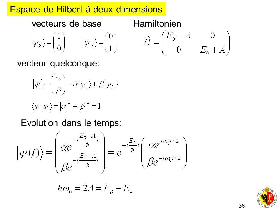 36 vecteur quelconque: Espace de Hilbert à deux dimensions vecteurs de base Hamiltonien Evolution dans le temps: