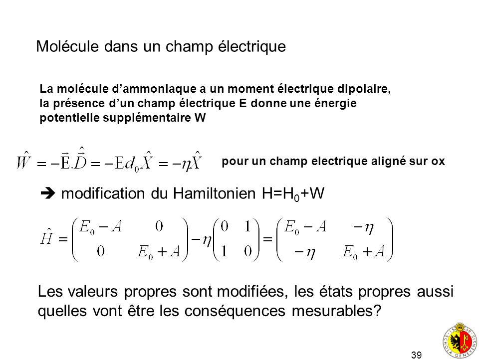 39 Molécule dans un champ électrique La molécule dammoniaque a un moment électrique dipolaire, la présence dun champ électrique E donne une énergie po