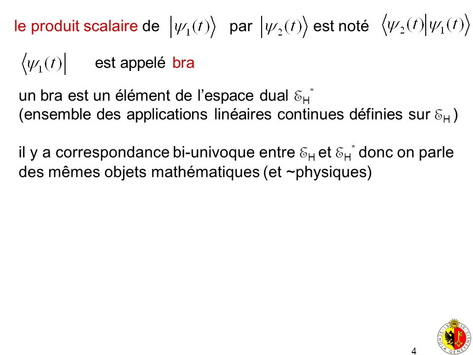 4 le produit scalaire de par est noté est appelé bra un bra est un élément de lespace dual E H * (ensemble des applications linéaires continues défini