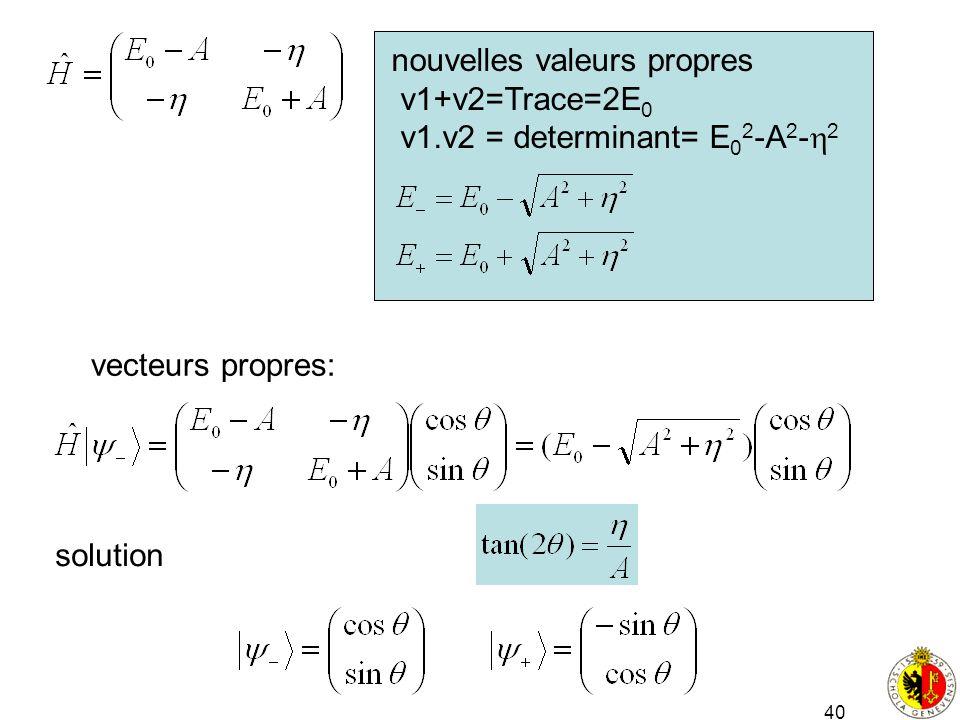 40 nouvelles valeurs propres v1+v2=Trace=2E 0 v1.v2 = determinant= E 0 2 -A 2 - 2 vecteurs propres: solution