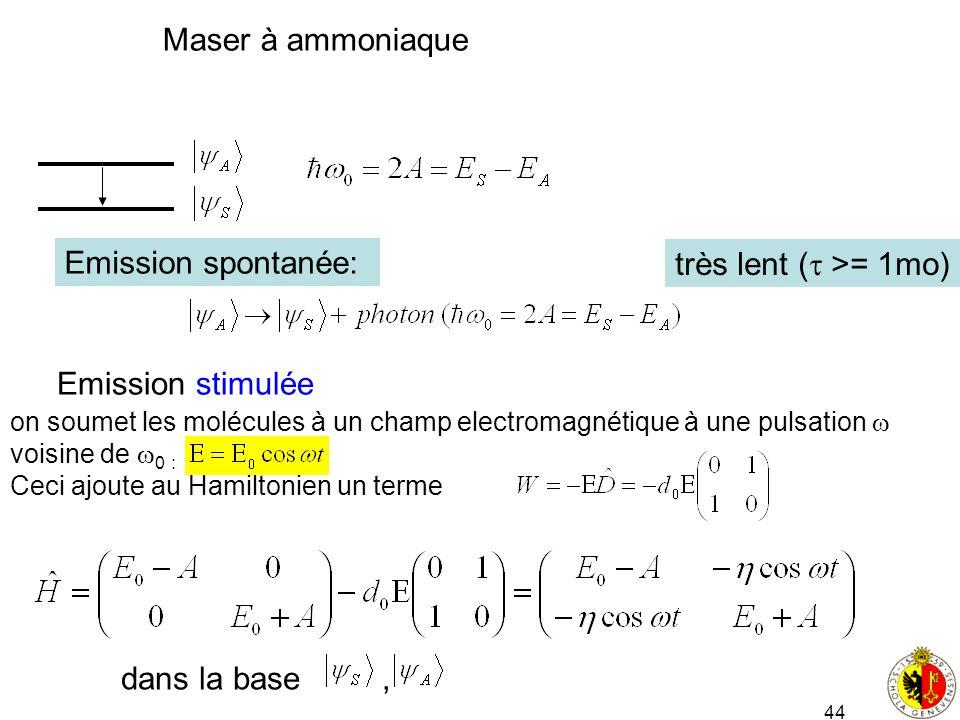 44 Maser à ammoniaque Emission spontanée: très lent ( >= 1mo) Emission stimulée on soumet les molécules à un champ electromagnétique à une pulsation v