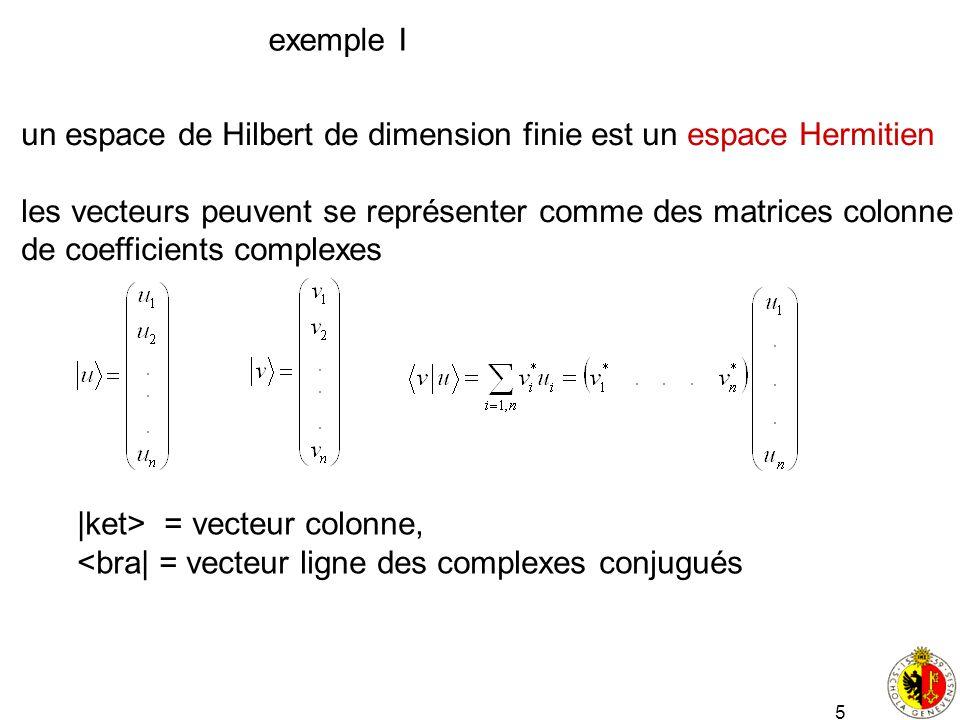 5 exemple I un espace de Hilbert de dimension finie est un espace Hermitien les vecteurs peuvent se représenter comme des matrices colonne de coeffici