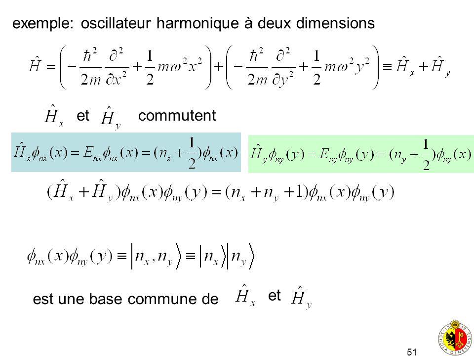 51 exemple: oscillateur harmonique à deux dimensions etcommutent est une base commune de et