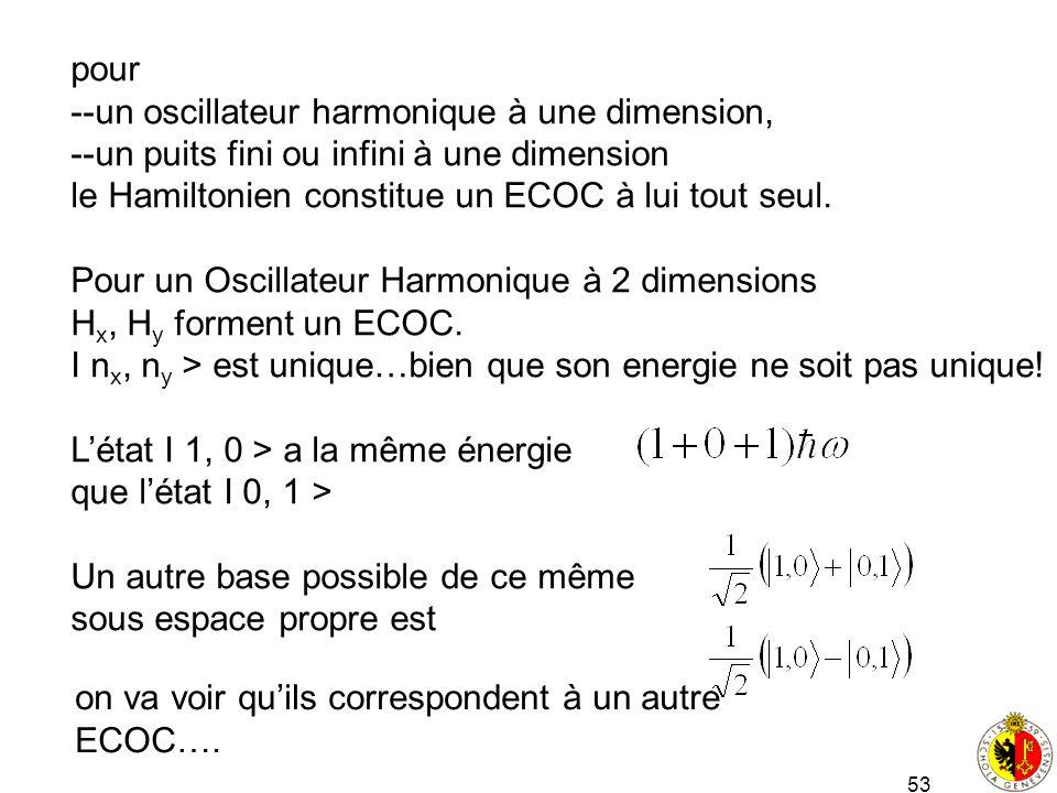 53 pour --un oscillateur harmonique à une dimension, --un puits fini ou infini à une dimension le Hamiltonien constitue un ECOC à lui tout seul. Pour