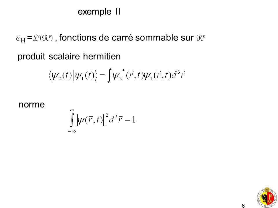 6 exemple II E H = L 2 (R 3 ), fonctions de carré sommable sur R 3 produit scalaire hermitien norme