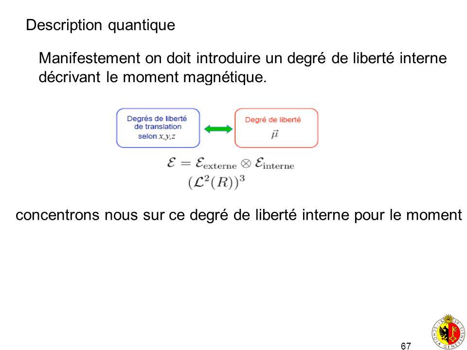 67 Description quantique Manifestement on doit introduire un degré de liberté interne décrivant le moment magnétique. concentrons nous sur ce degré de