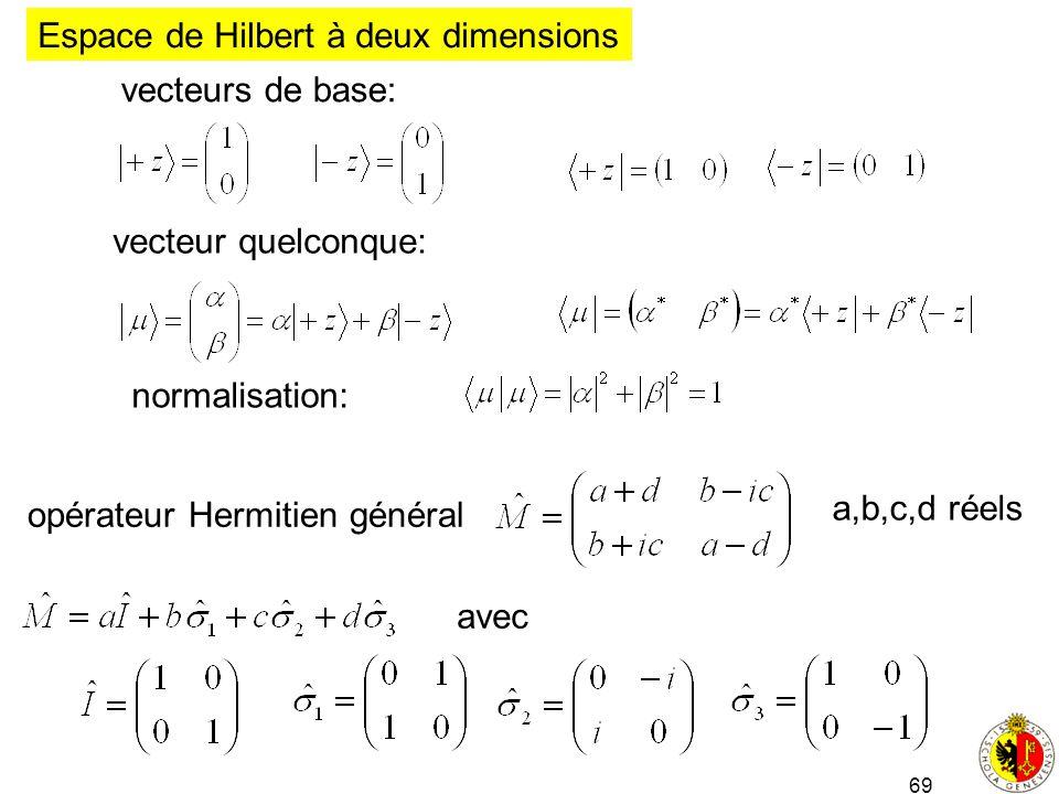 69 vecteur quelconque: Espace de Hilbert à deux dimensions vecteurs de base: normalisation: opérateur Hermitien général a,b,c,d réels avec