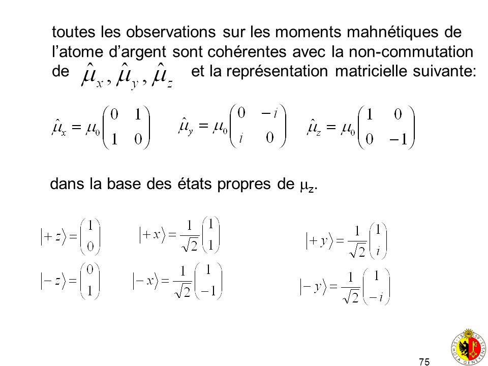 75 toutes les observations sur les moments mahnétiques de latome dargent sont cohérentes avec la non-commutation de et la représentation matricielle s