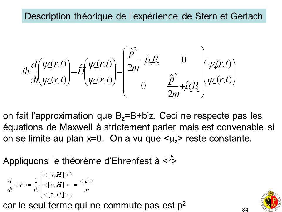 84 Description théorique de lexpérience de Stern et Gerlach on fait lapproximation que B z =B+bz. Ceci ne respecte pas les équations de Maxwell à stri