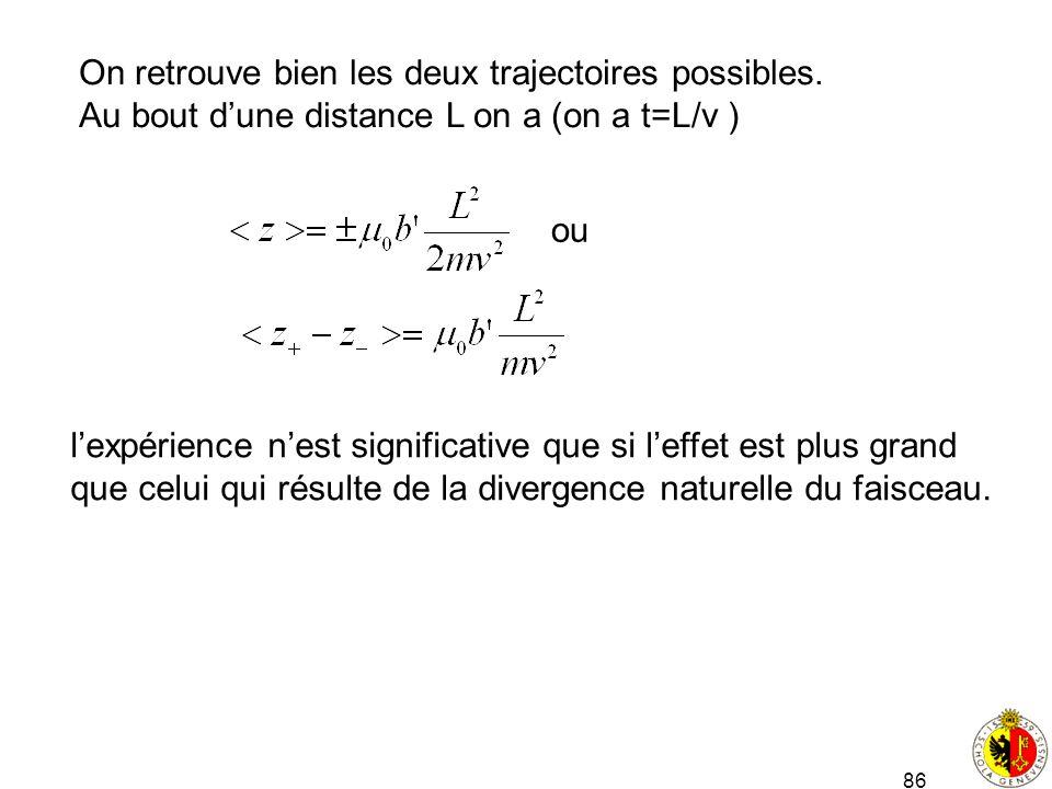 86 On retrouve bien les deux trajectoires possibles. Au bout dune distance L on a (on a t=L/v ) ou lexpérience nest significative que si leffet est pl