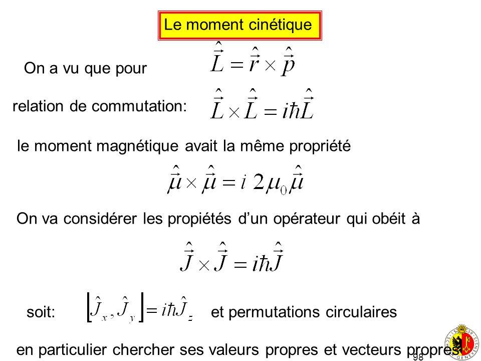 98 Le moment cinétique On a vu que pour relation de commutation: On va considérer les propiétés dun opérateur qui obéit à le moment magnétique avait l