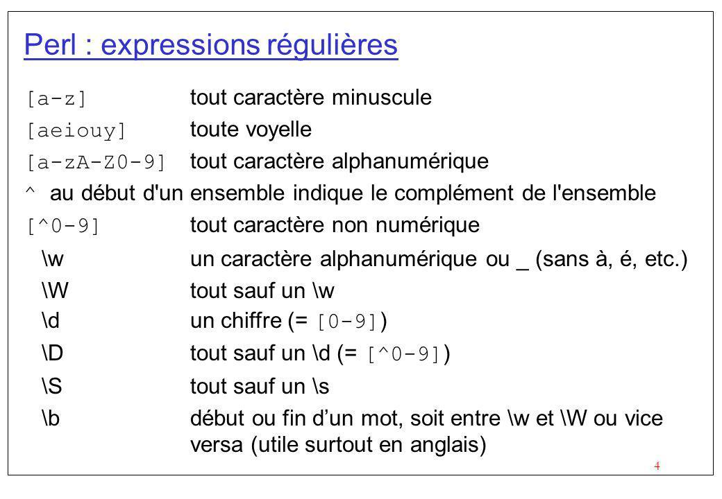 4 [a-z] tout caractère minuscule [aeiouy] toute voyelle [a-zA-Z0-9] tout caractère alphanumérique ^ au début d'un ensemble indique le complément de l'