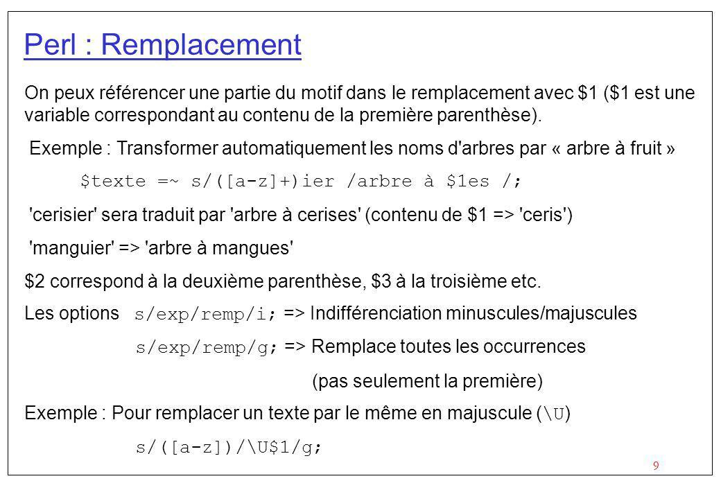 10 Perl : Remplacement Pour remplacer les suites de plusieurs a en un seul a : $x =~ s/a+/a/g; Pour enlever les suites de a : $x =~ s/a*//g; Ou tout simplement : $x =~ s/a//g; Pour enlever les espaces au début d une chaîne : $x =~ s/^\s+//; Et à la fin de la chaîne : $x =~ s/\s+$//;