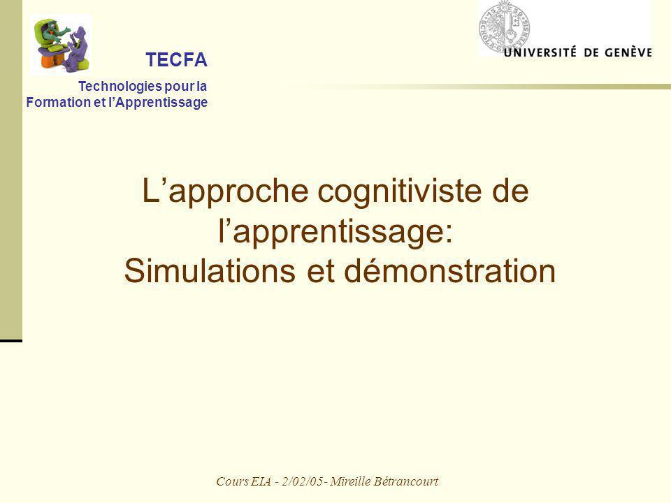 Cours EIA - 2/02/05- Mireille Bétrancourt Lapproche cognitiviste de lapprentissage: Simulations et démonstration TECFA Technologies pour la Formation