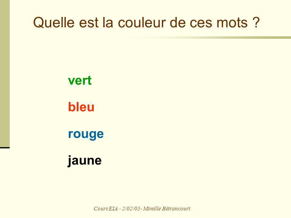Cours EIA - 2/02/05- Mireille Bétrancourt Quelle est la couleur de ces mots ? vert bleu rouge jaune