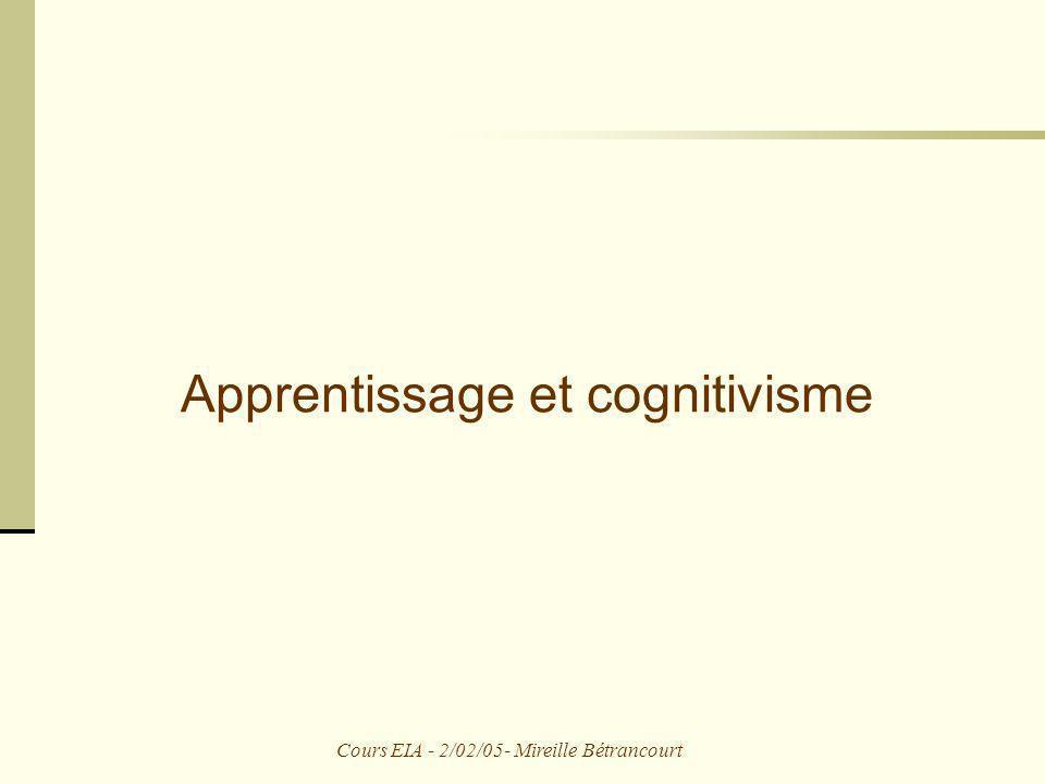 Cours EIA - 2/02/05- Mireille Bétrancourt Apprentissage et cognitivisme
