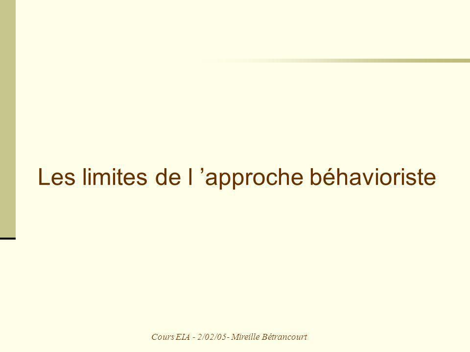 Cours EIA - 2/02/05- Mireille Bétrancourt L approche béhavioriste StimulusRéponse R = f (S) Apprentissage = association entre une situation et un comportement