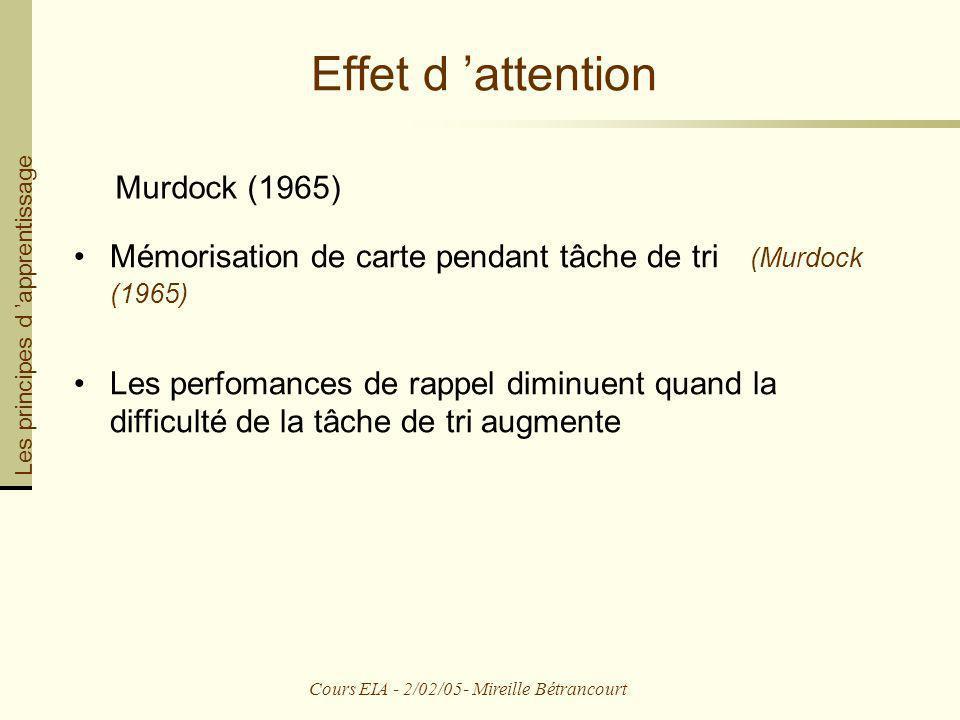 Cours EIA - 2/02/05- Mireille Bétrancourt Effet d attention Murdock (1965) Mémorisation de carte pendant tâche de tri (Murdock (1965) Les perfomances