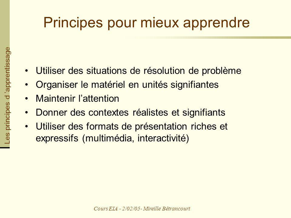 Cours EIA - 2/02/05- Mireille Bétrancourt Principes pour mieux apprendre Utiliser des situations de résolution de problème Organiser le matériel en un