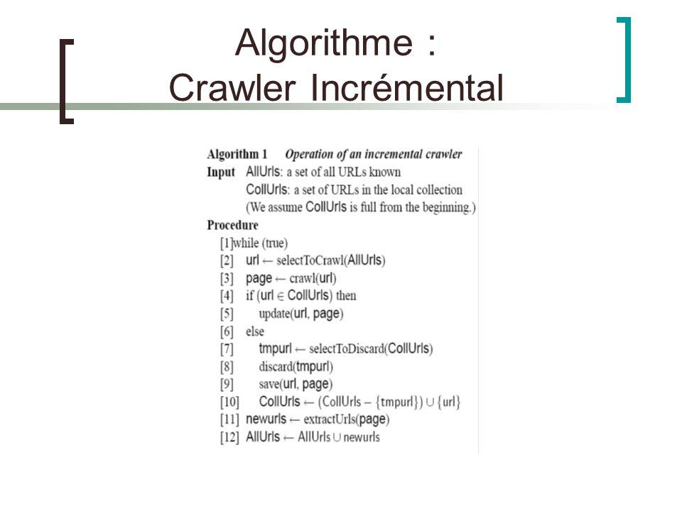 Algorithme : Crawler Incrémental