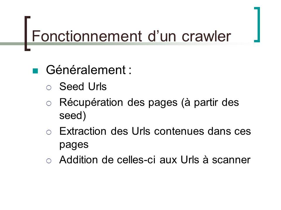 Fonctionnement dun crawler Généralement : Seed Urls Récupération des pages (à partir des seed) Extraction des Urls contenues dans ces pages Addition de celles-ci aux Urls à scanner
