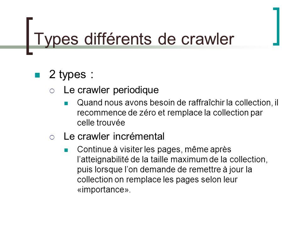 Types différents de crawler Le crawler incrémental est plus efficace que le crawler periodique.