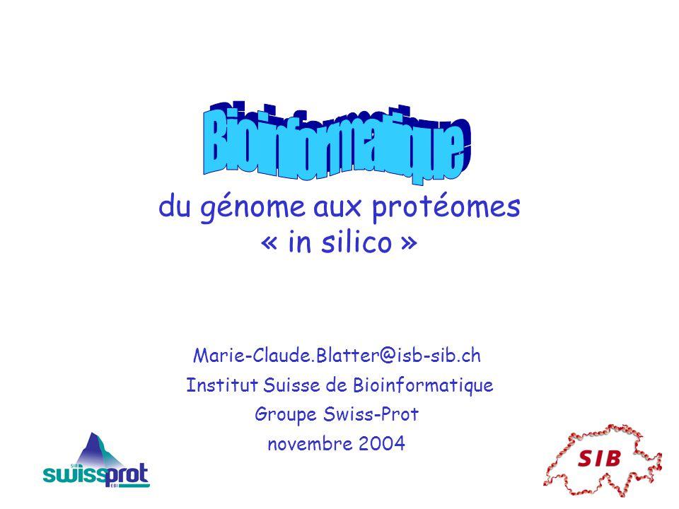 du génome aux protéomes « in silico » Marie-Claude.Blatter@isb-sib.ch Institut Suisse de Bioinformatique Groupe Swiss-Prot novembre 2004