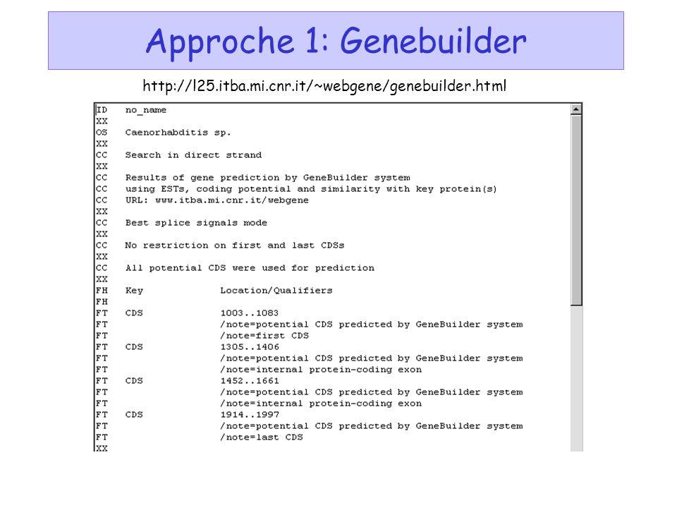 Approche 1: Genebuilder http://l25.itba.mi.cnr.it/~webgene/genebuilder.html