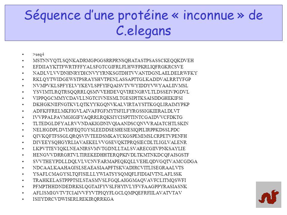 Séquence dune protéine « inconnue » de C.elegans >seq4 MSTNNYQTLSQNKADRMGPGGSRRPRNSQHATASTPSASSCKEQQKDVEH EFDIIAYKTTFWRTFFFYALSFGTCGIFRLFLHWFPKRLIQFRG