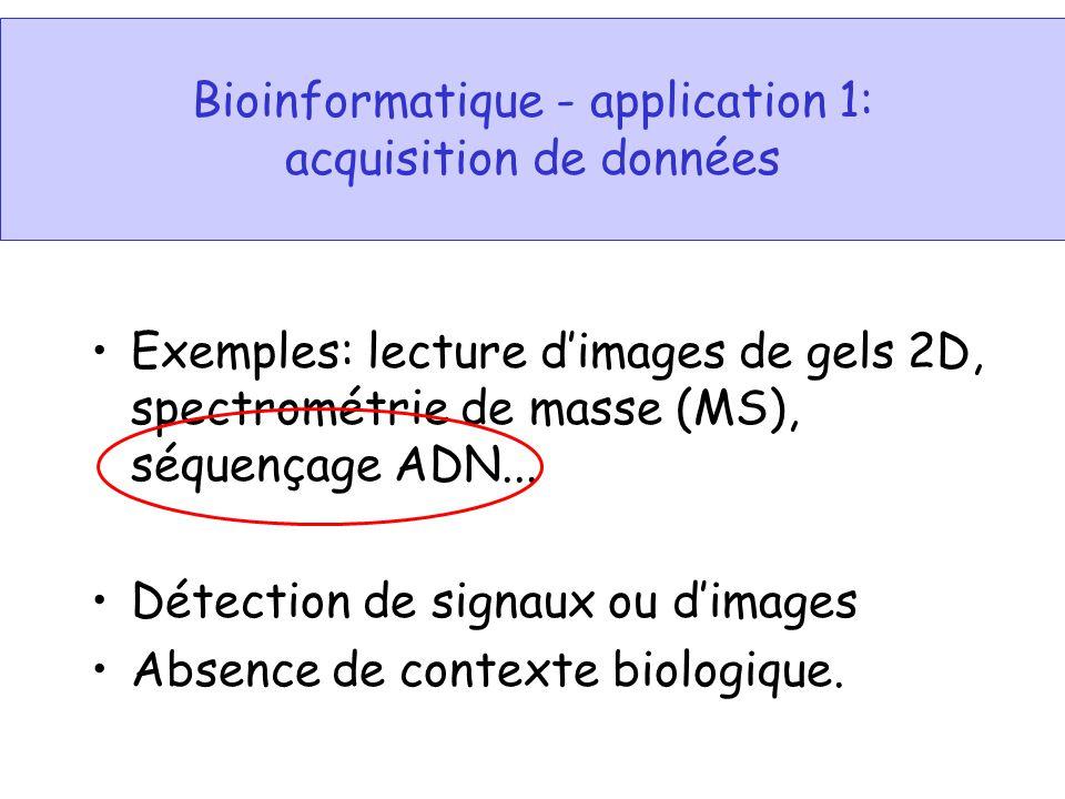 Bioinformatique - application 3: Analyse de séquence ADN Détection des régions codantes; Recherche de similarité (BLASTN) Analyse des sites de restriction (enzymes); Traduction ADN en protéine; Détection de régions de basse complexité; Détection de séquences « repeats » comme les microsatellites, minisatellites, Alu repeats, etc.; Détection de régions ADN importantes non-codantes comme les signaux de transcription (promoteur), origines de la réplication, etc.; Détection de séquences de tARN et autres types de ARN (exemples: rARN, uARN, tmARN).