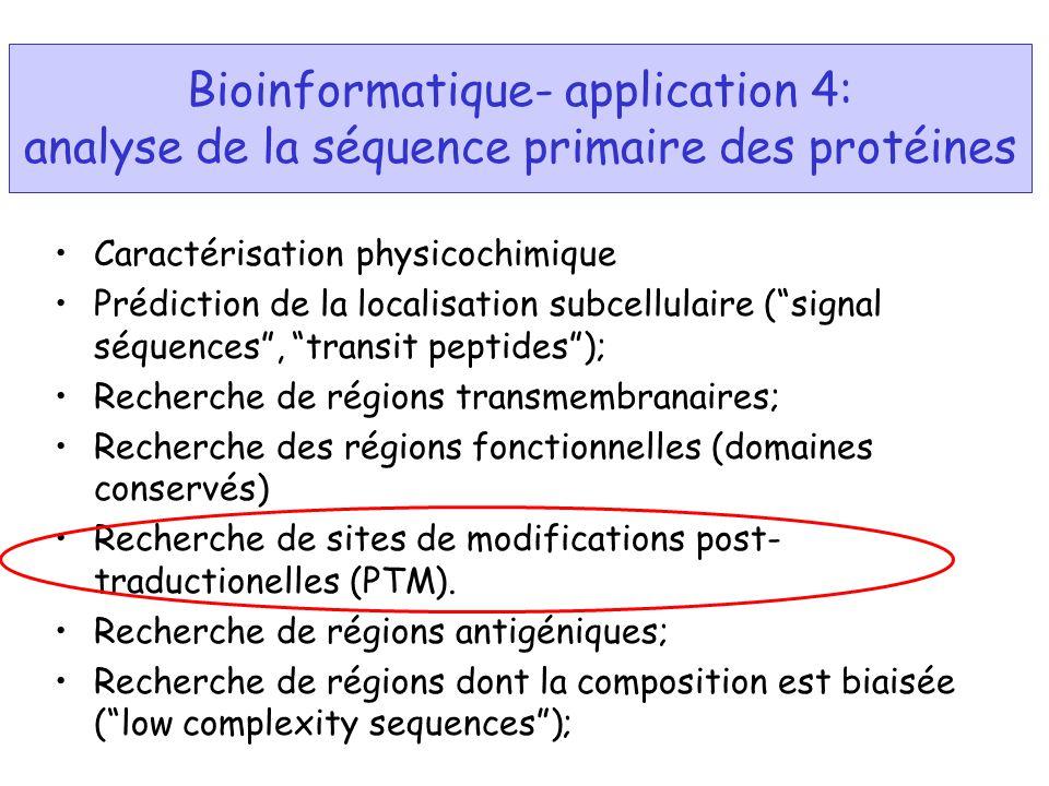 Bioinformatique- application 4: analyse de la séquence primaire des protéines Caractérisation physicochimique Prédiction de la localisation subcellula
