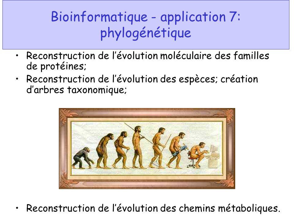 Bioinformatique - application 7: phylogénétique Reconstruction de lévolution moléculaire des familles de protéines; Reconstruction de lévolution des e