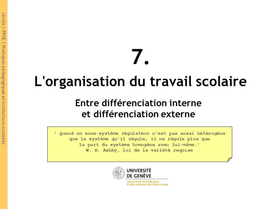 UniGe | FPSE | Pratiques pédagogiques et institutions scolaires 7. L'organisation du travail scolaire Entre différenciation interne et différenciation