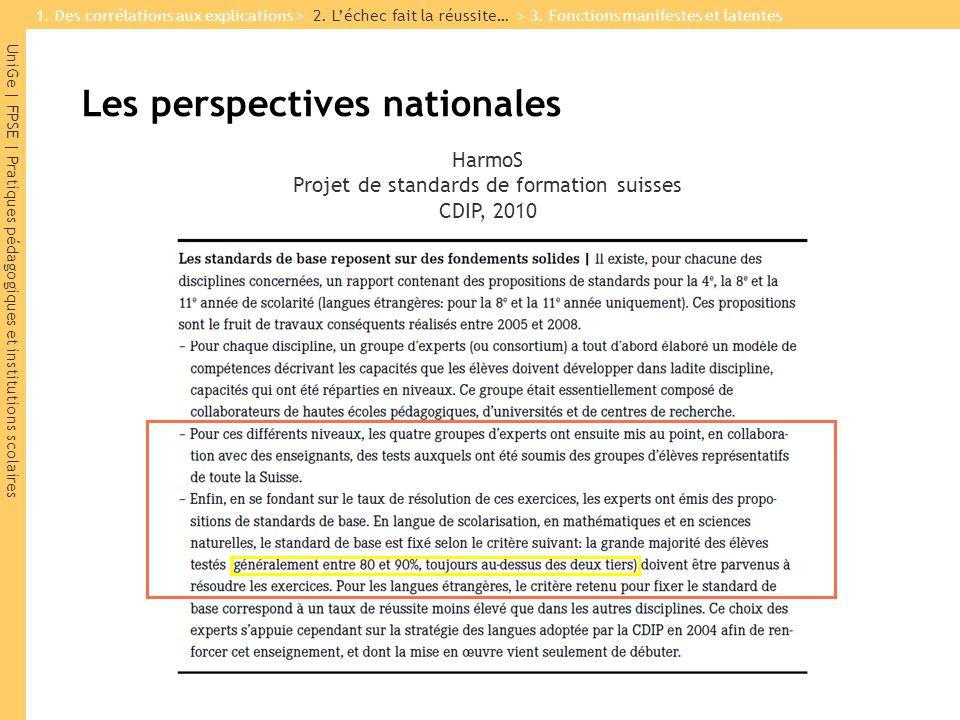 UniGe | FPSE | Pratiques pédagogiques et institutions scolaires HarmoS Projet de standards de formation suisses CDIP, 2010 1. Des corrélations aux exp
