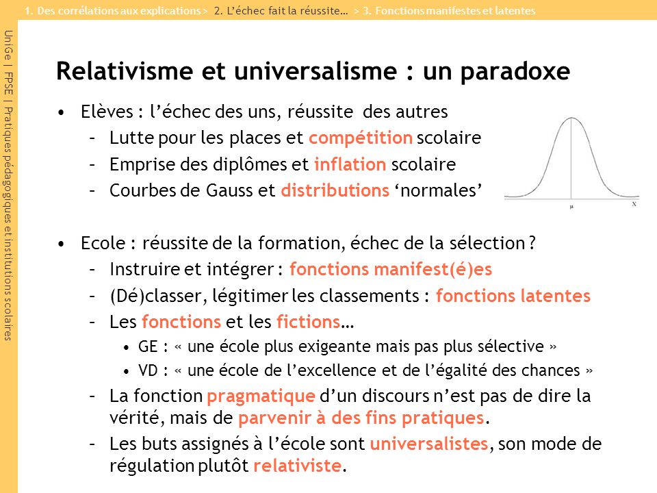 UniGe | FPSE | Pratiques pédagogiques et institutions scolaires Relativisme et universalisme : un paradoxe Elèves : léchec des uns, réussite des autre