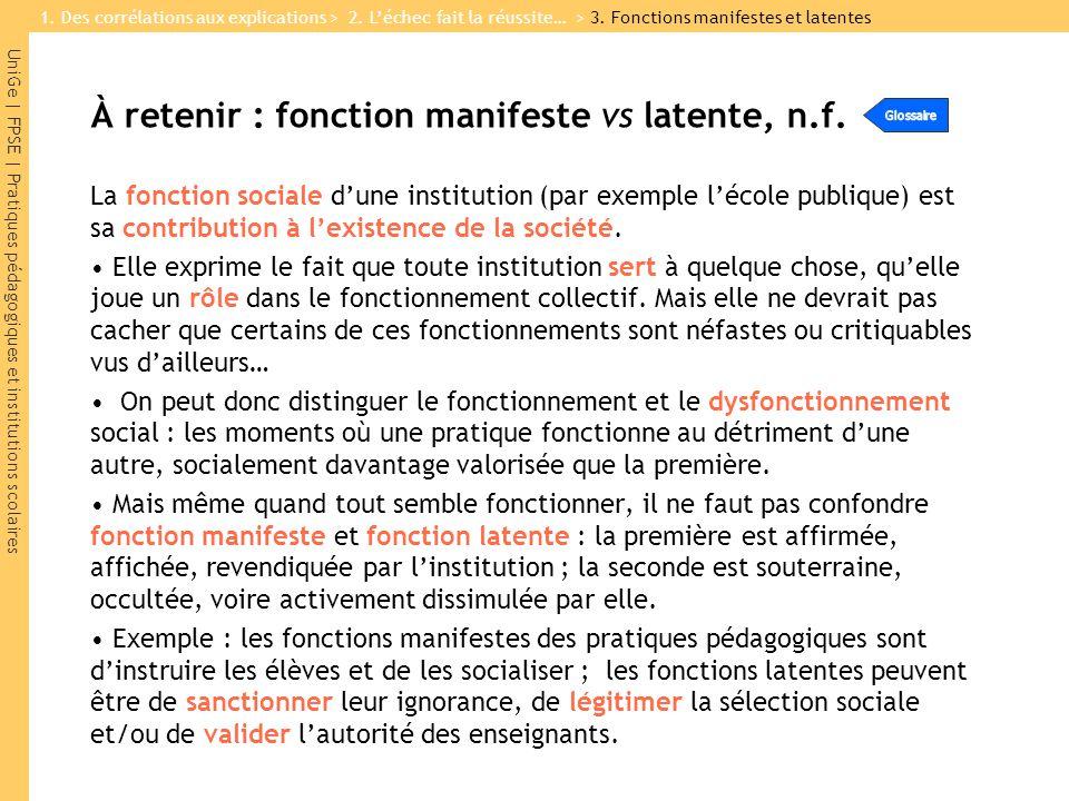 UniGe | FPSE | Pratiques pédagogiques et institutions scolaires À retenir : fonction manifeste vs latente, n.f. La fonction sociale dune institution (