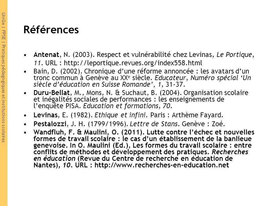 UniGe | FPSE | Pratiques pédagogiques et institutions scolaires Références Antenat, N.