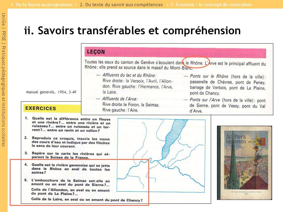 UniGe | FPSE | Pratiques pédagogiques et institutions scolaires ii. Savoirs transférables et compréhension Manuel genevois, 1954, 3-4P 1. De la leçon