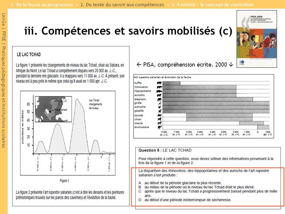 UniGe | FPSE | Pratiques pédagogiques et institutions scolaires PISA, compréhension écrite, 2000 iii. Compétences et savoirs mobilisés (c) 1. De la le