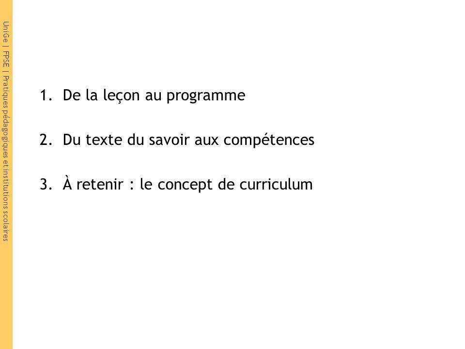 UniGe | FPSE | Pratiques pédagogiques et institutions scolaires 1.De la leçon au programme 2.Du texte du savoir aux compétences 3.À retenir : le conce