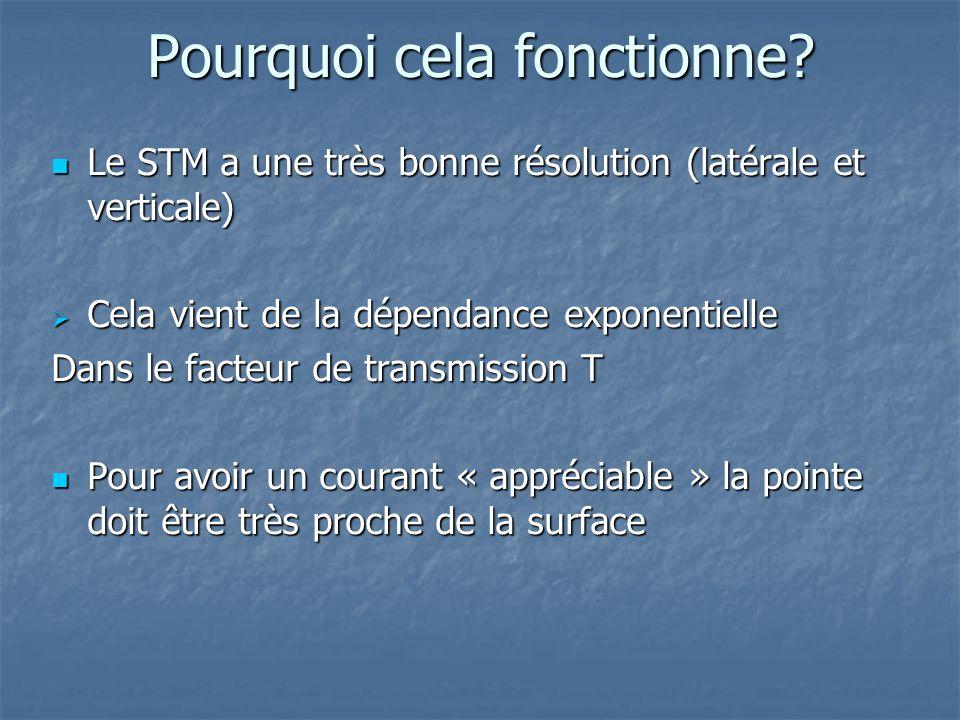 Pourquoi cela fonctionne? Le STM a une très bonne résolution (latérale et verticale) Le STM a une très bonne résolution (latérale et verticale) Cela v