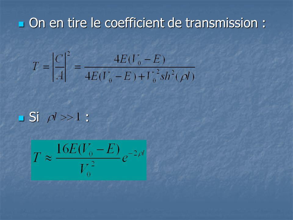 On en tire le coefficient de transmission : On en tire le coefficient de transmission : Si : Si :
